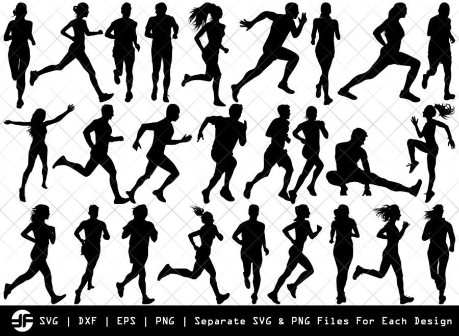 Exercise Run SVG | Fitness Silhouette Bundle | SVG Cut File