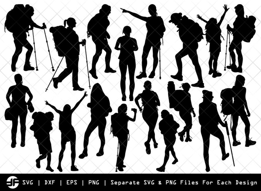 Female Hiker SVG | Silhouette Bundle | SVG Cut File