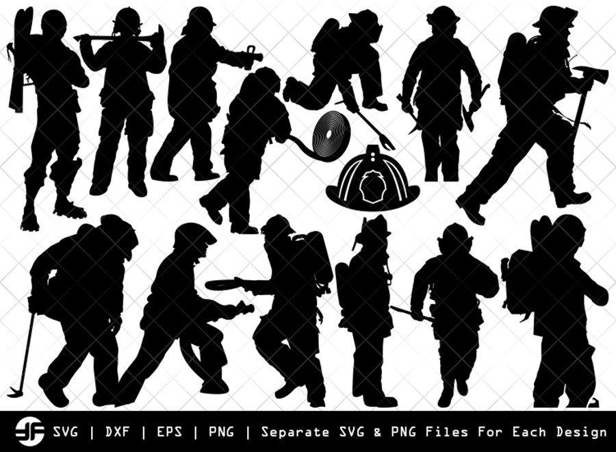 Fire Fighter SVG | Fire Man SVG | Silhouette Bundle | Cut File
