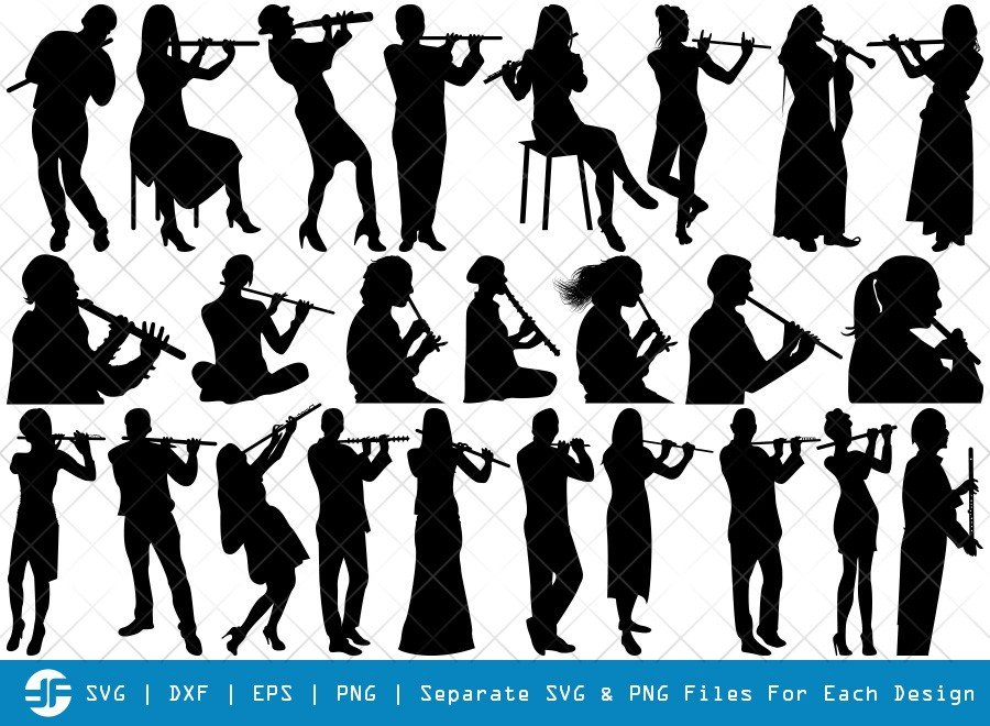 Flute Playing SVG Cut Files | Music Silhouette Bundle