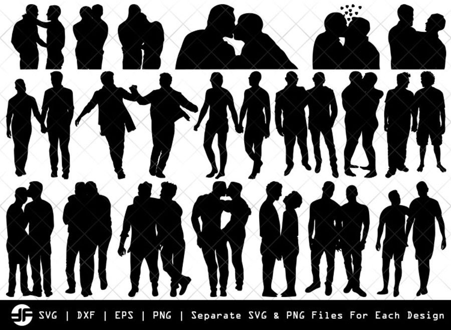 Gay Couple SVG | Silhouette Bundle | SVG Cut File