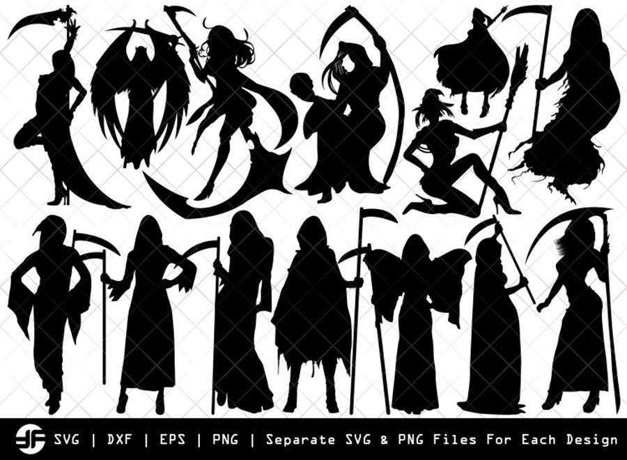 Grim Reaper Girl SVG | Silhouette Bundle | SVG Cut File