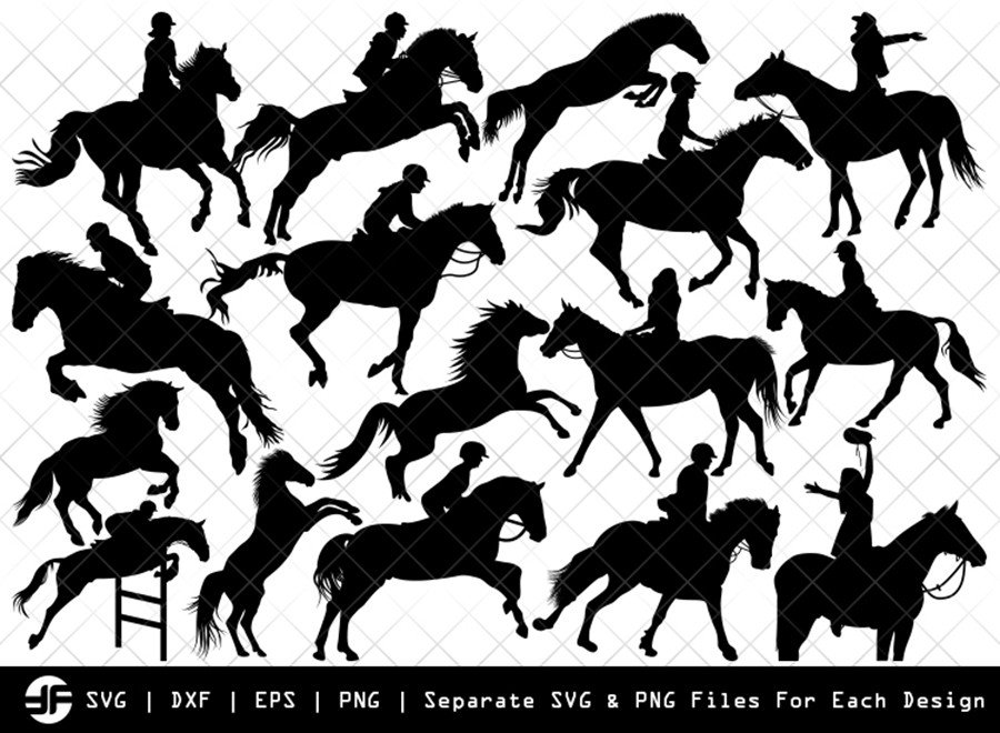 Horse Jumping SVG | Animal | Silhouette Bundle | Cut File