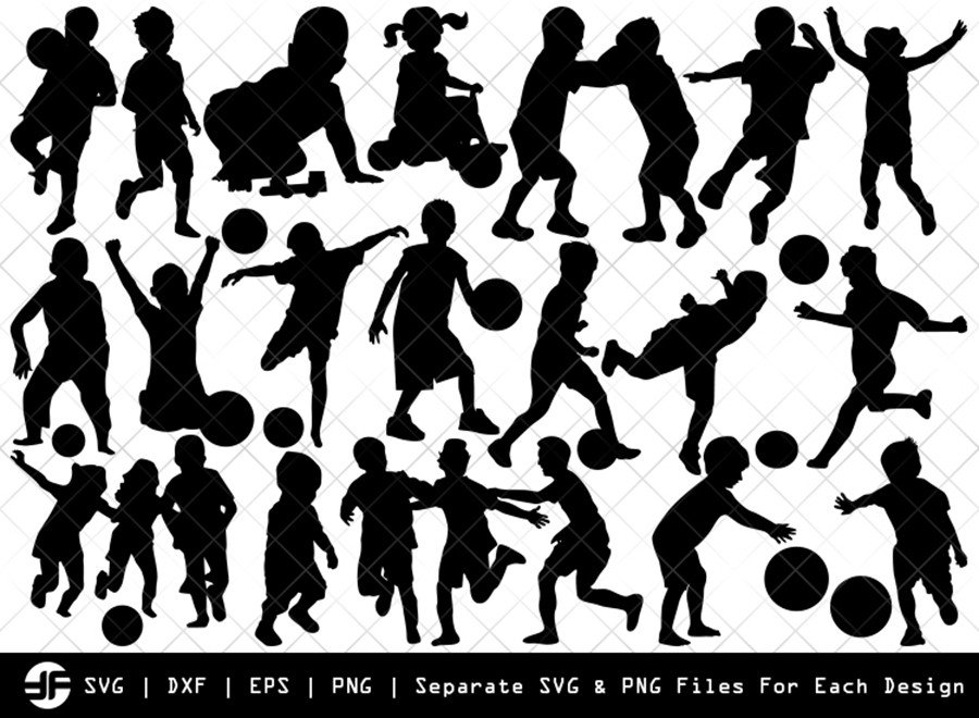 Kids Playing SVG | Children Silhouette Bundle | SVG Cut File