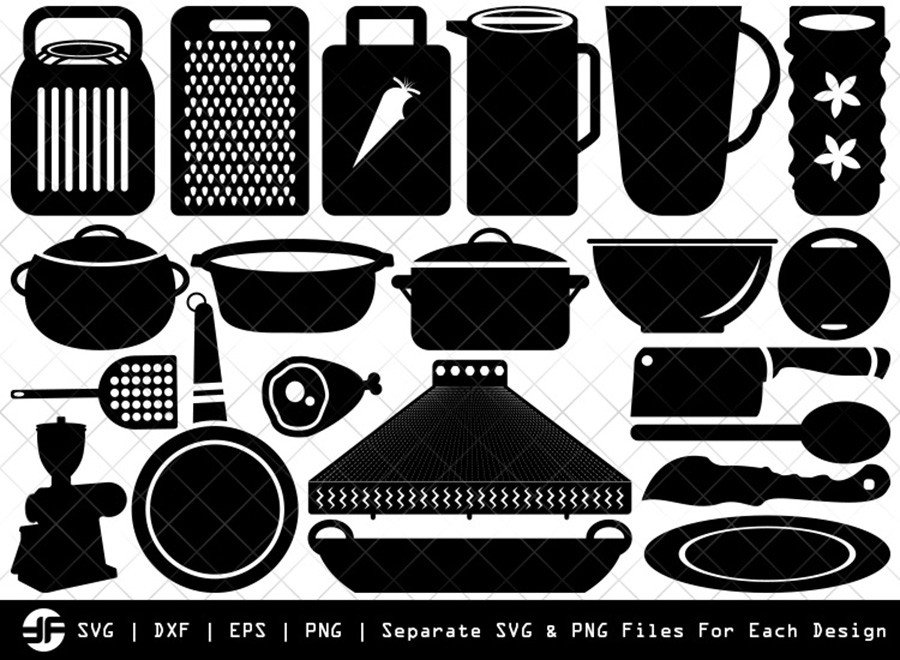 Kitchen SVG | Kitchen Silhouette Bundle | SVG Cut File