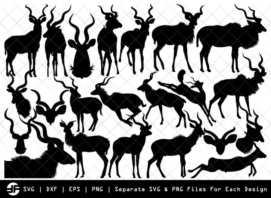 Kudu SVG | Animal SVG | Silhouette Bundle | SVG Cut File