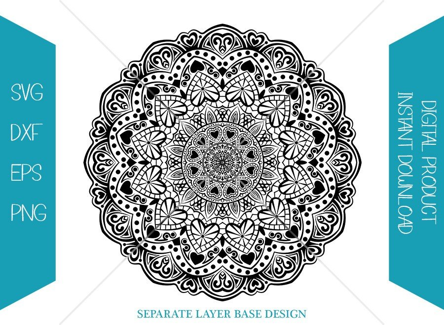 Valentine Mandala SVG | Hearts Shape Silhouette | Cut File