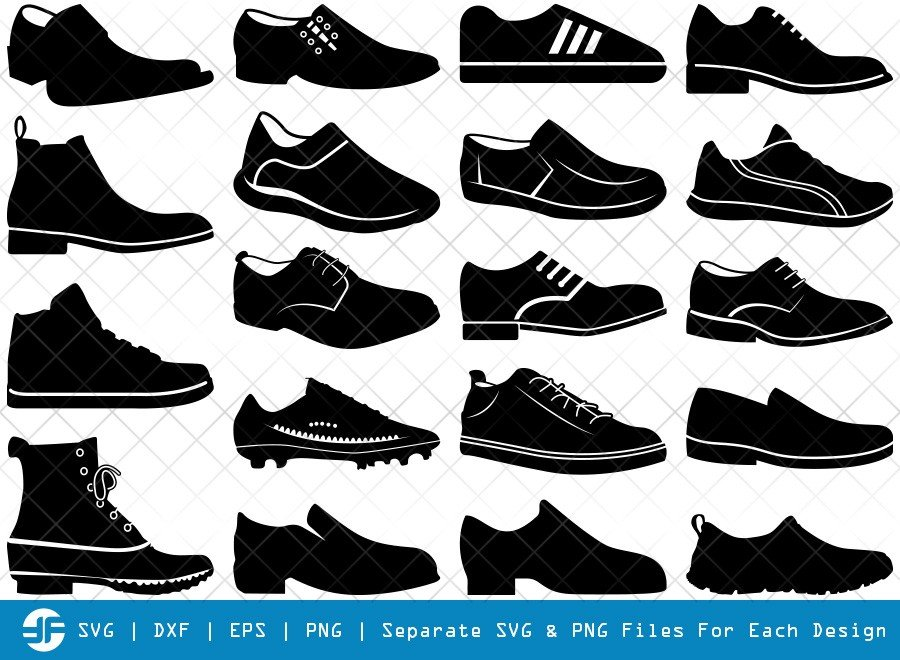 Man Shoes SVG Cut Files | Running Shoes Silhouette Bundle