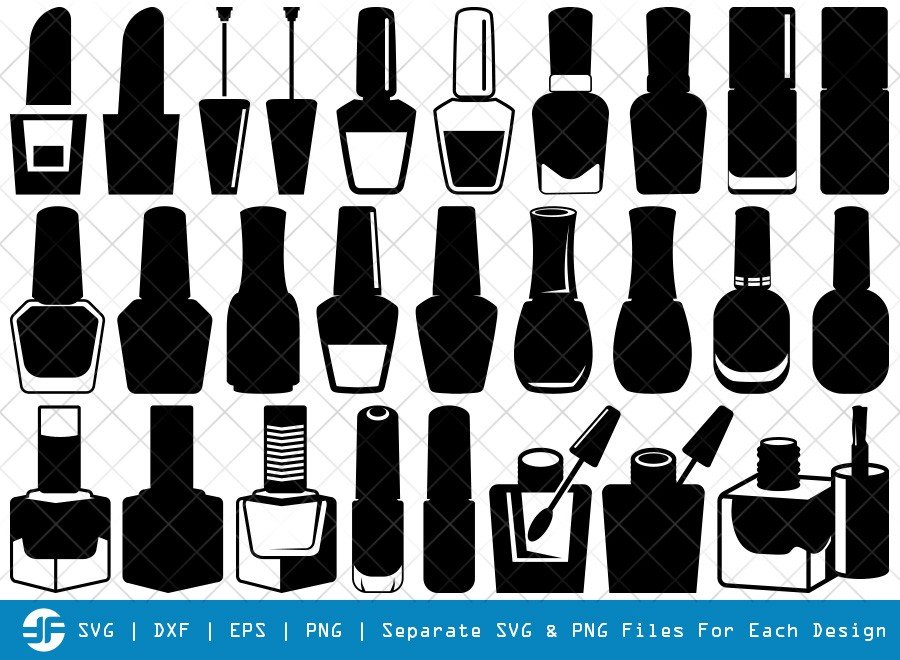 Nail Polish SVG Cut Files | Nail Polish Bottle Silhouette Bundle