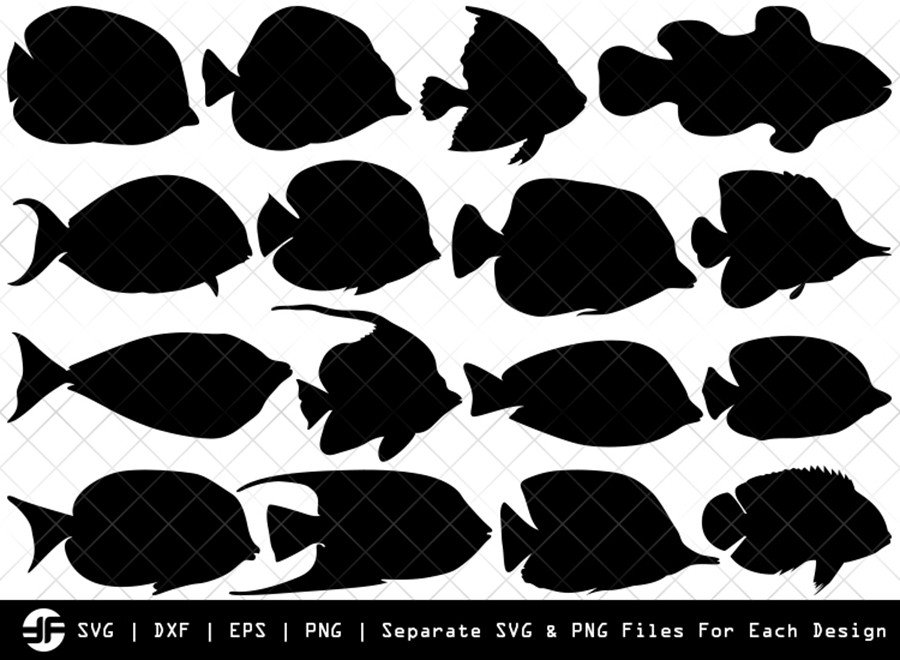 Ocean Fish SVG | Fish Silhouette Bundle | SVG Cut File