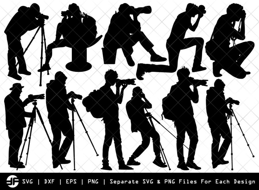 Photographer SVG Cut File | Cameramen Silhouette Bundle
