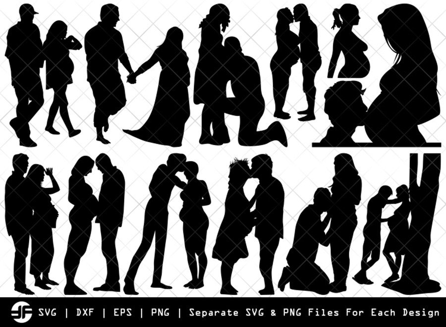 Pregnant Couple SVG | Silhouette Bundle | SVG Cut File