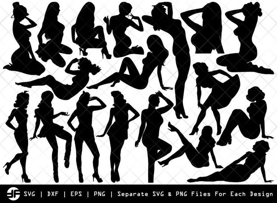 Retro Girl SVG | Retro Girl Silhouette Bundle | SVG Cut File