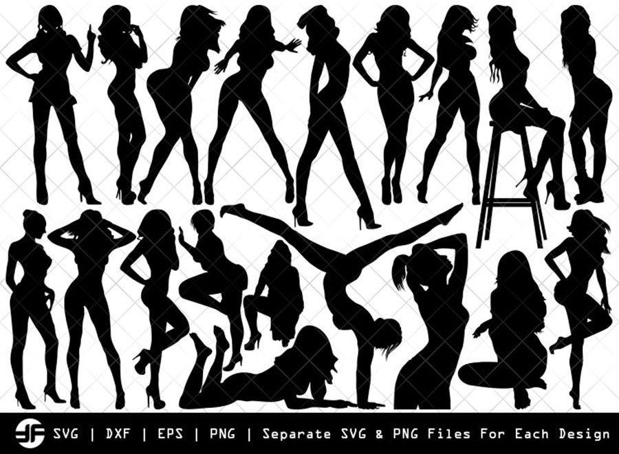 Sexy Woman SVG | Fashion Girl Silhouette Bundle | Cut File