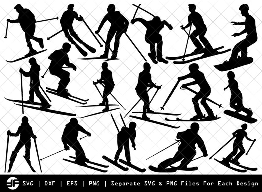 Skiing SVG | Sports SVG | Silhouette Bundle | SVG Cut File