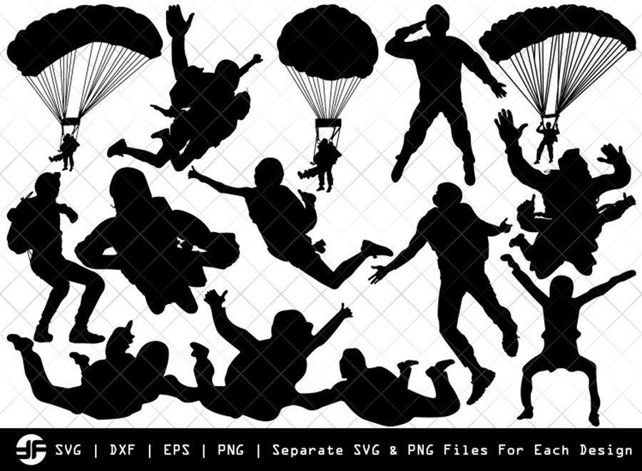 Sky Diving SVG | Sky Diving Silhouette Bundle | SVG Cut File