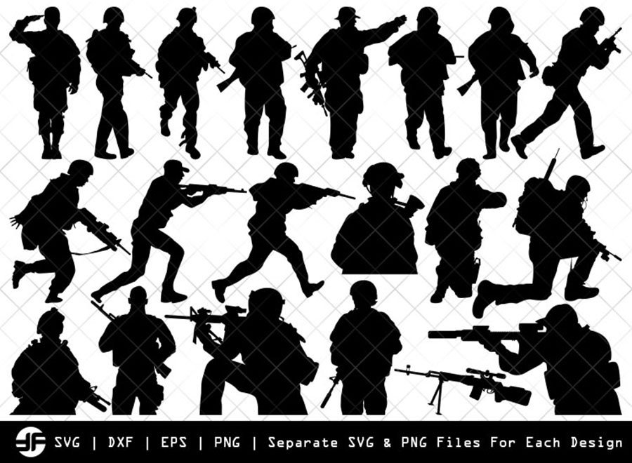 Soldiers SVG | Army SVG | Silhouette Bundle | SVG Cut File