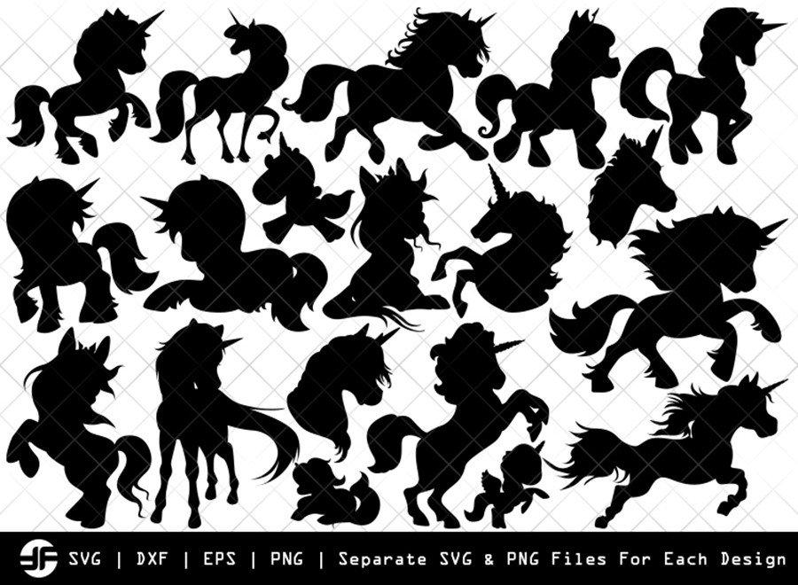 Unicorn SVG | Kids Unicorn Silhouette Bundle | SVG Cut File