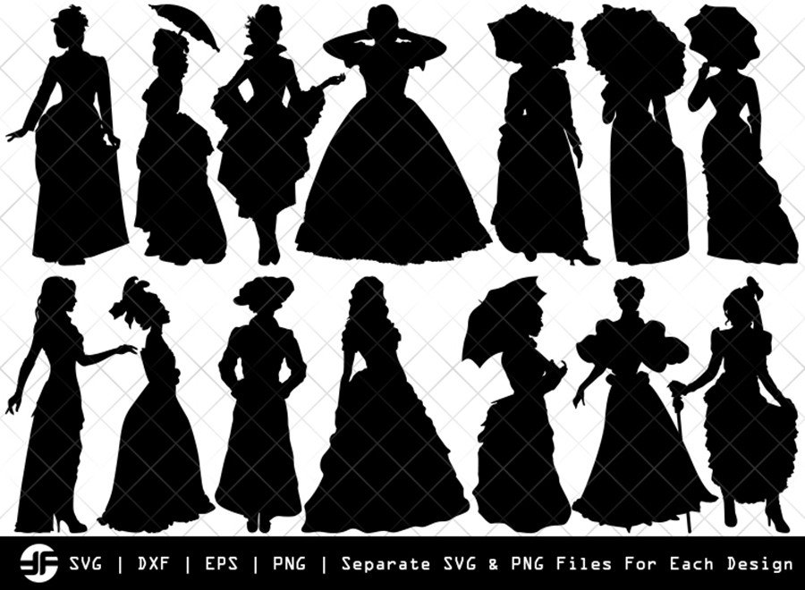 Victorian Woman SVG | Silhouette Bundle | SVG Cut File