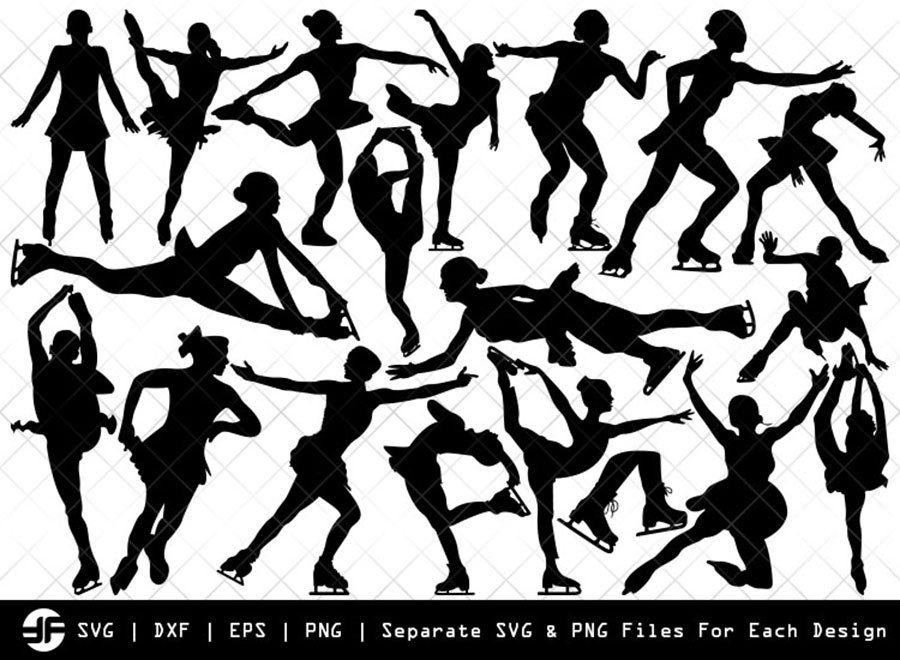 Woman Figure Skating SVG   Silhouette Bundle   SVG Cut File