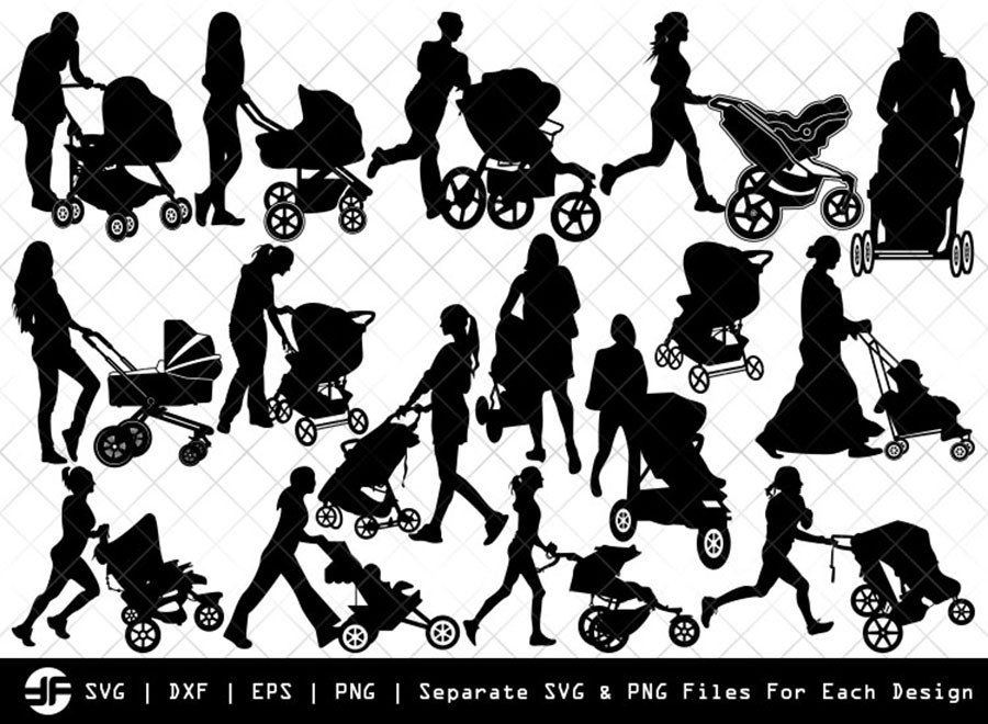 Woman with Stroller SVG | Silhouette Bundle | SVG Cut File
