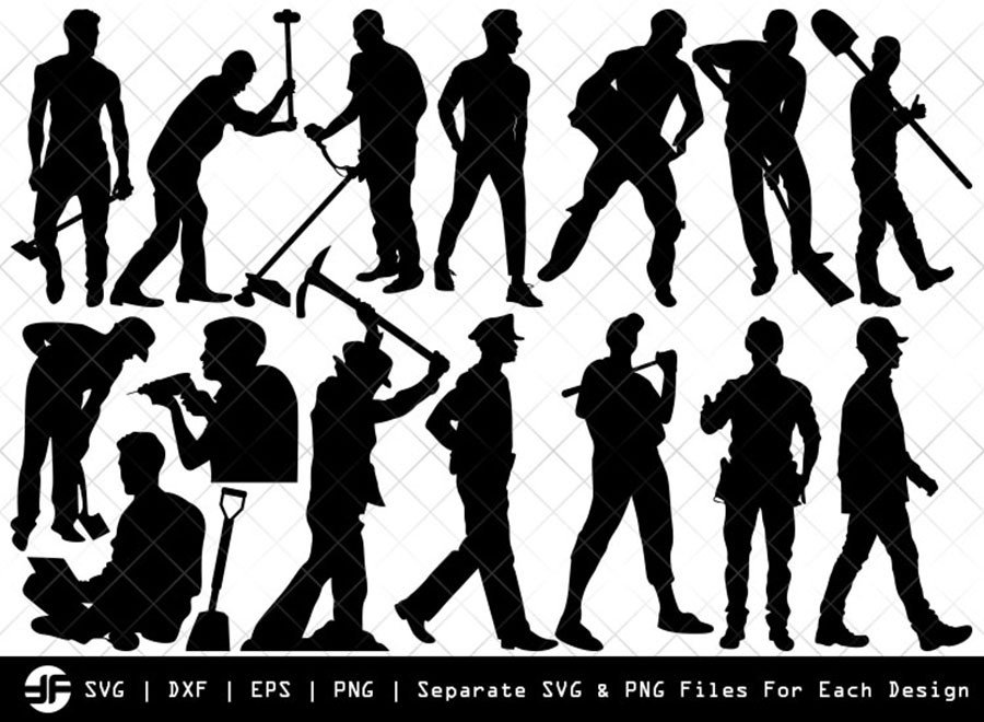 Working Man SVG | Silhouette Bundle | SVG Cut File