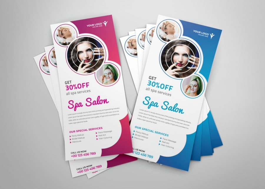 Spa DL Flyer or Rack Card Template Design