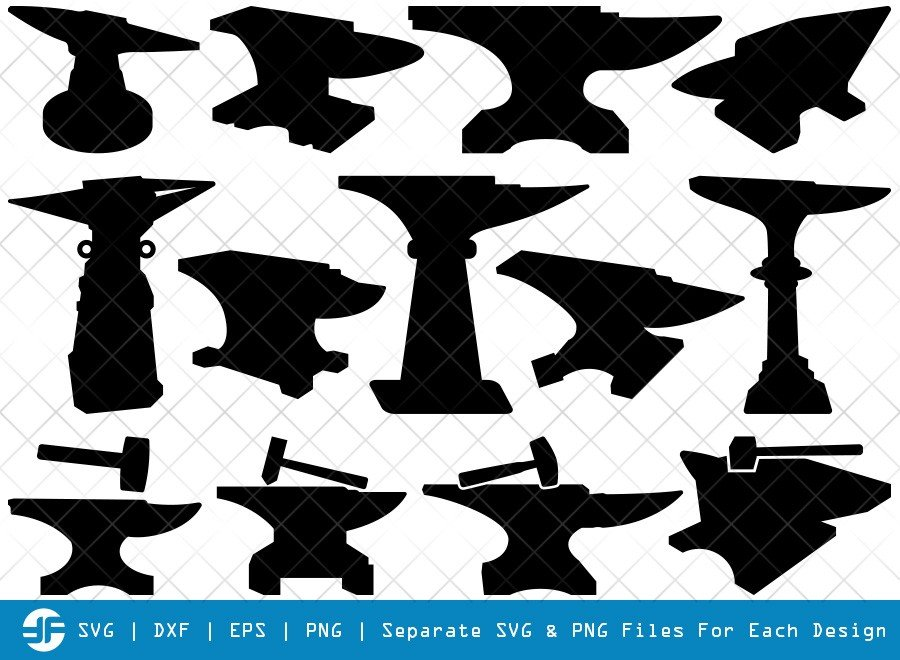 Anvil SVG Cut Files | Anvil And Hammer Silhouette Bundle