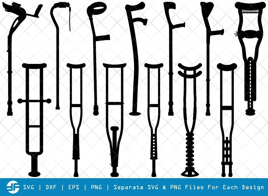 Crutches SVG Cut Files | Walking Crutch Silhouette Bundle