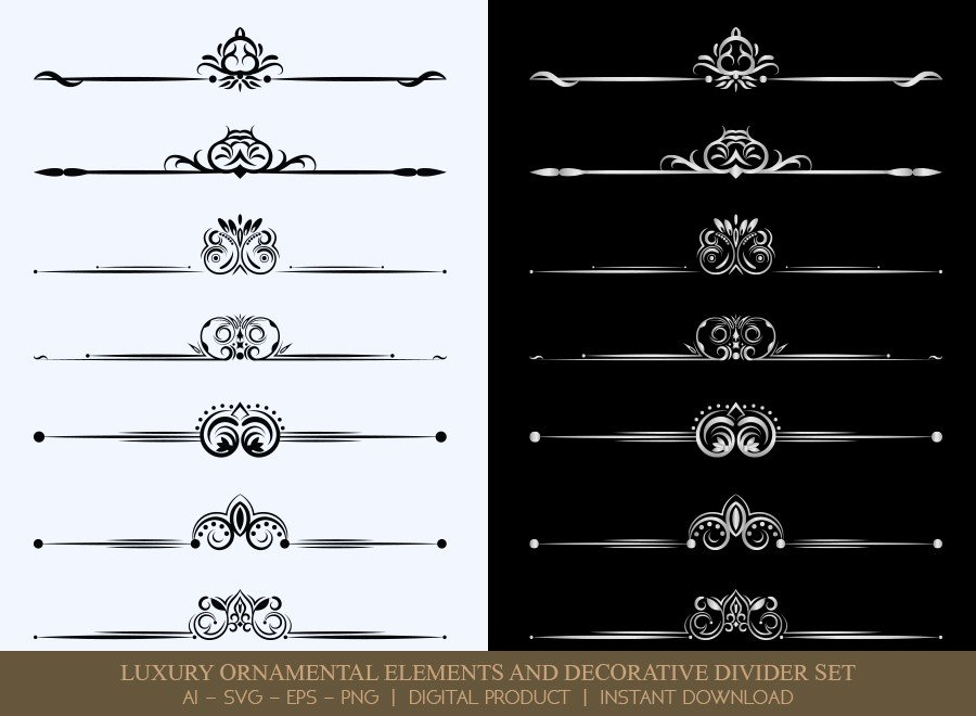 Luxury Decorative Divider Set SVG Cut Files | DDS040