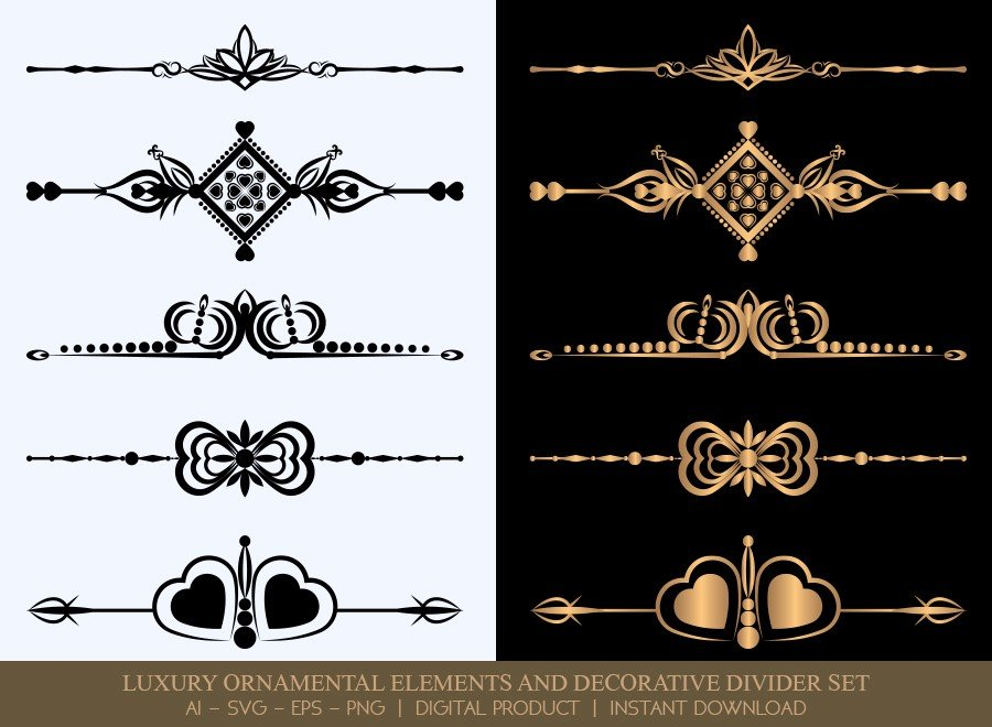 Luxury Decorative Divider Set SVG Cut Files | DDS051