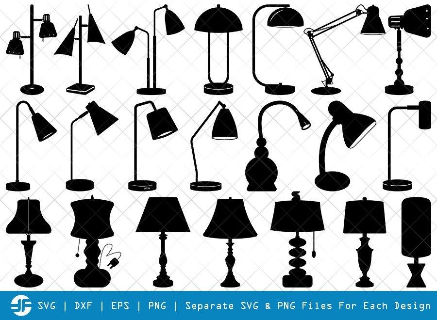 Desk Lamp SVG Cut Files | Architect Lamp Silhouette Bundle
