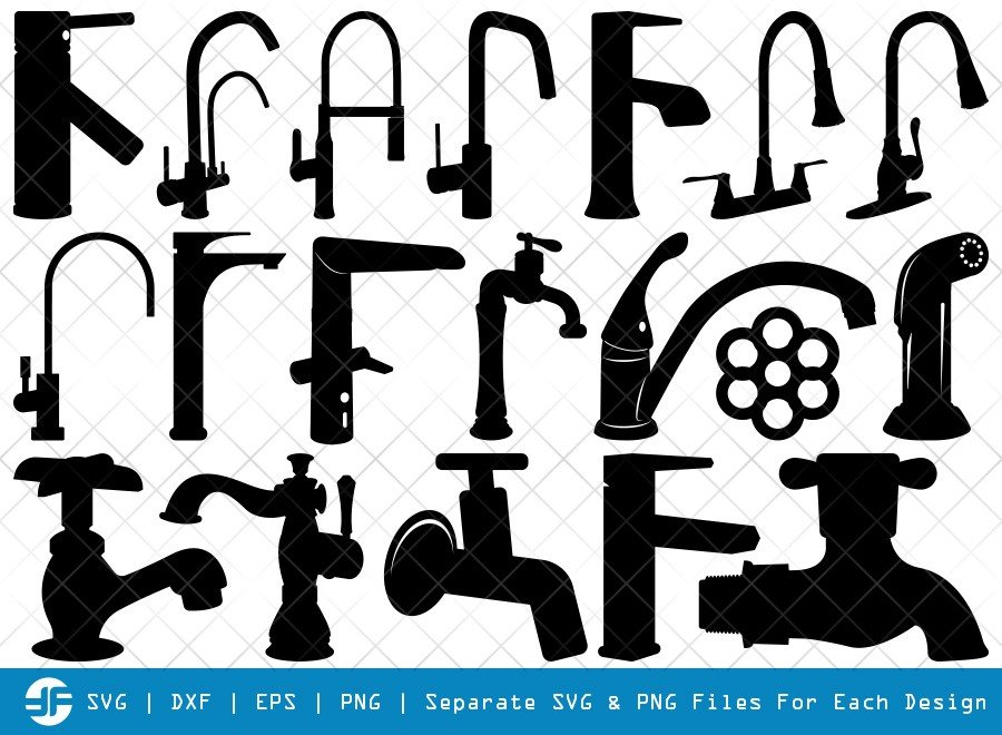 Faucet SVG Cut Files | Water Tap Silhouette Bundle