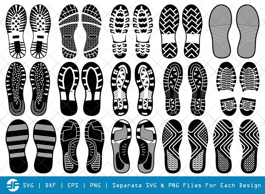 Human Shoes Footprints SVG Cut Files | Silhouette Bundle