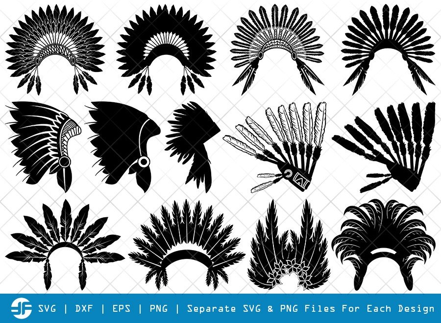 Headdress SVG Cut Files | Headdress Feathers Silhouette