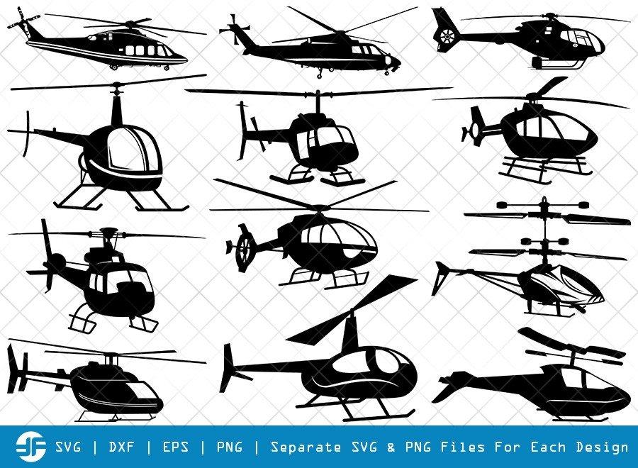 Helicopter SVG Cut Files | Army Helicopter Silhouette Bundle