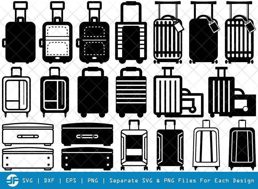 Luggage SVG Cut Files | Travel Bag Silhouette Bundle
