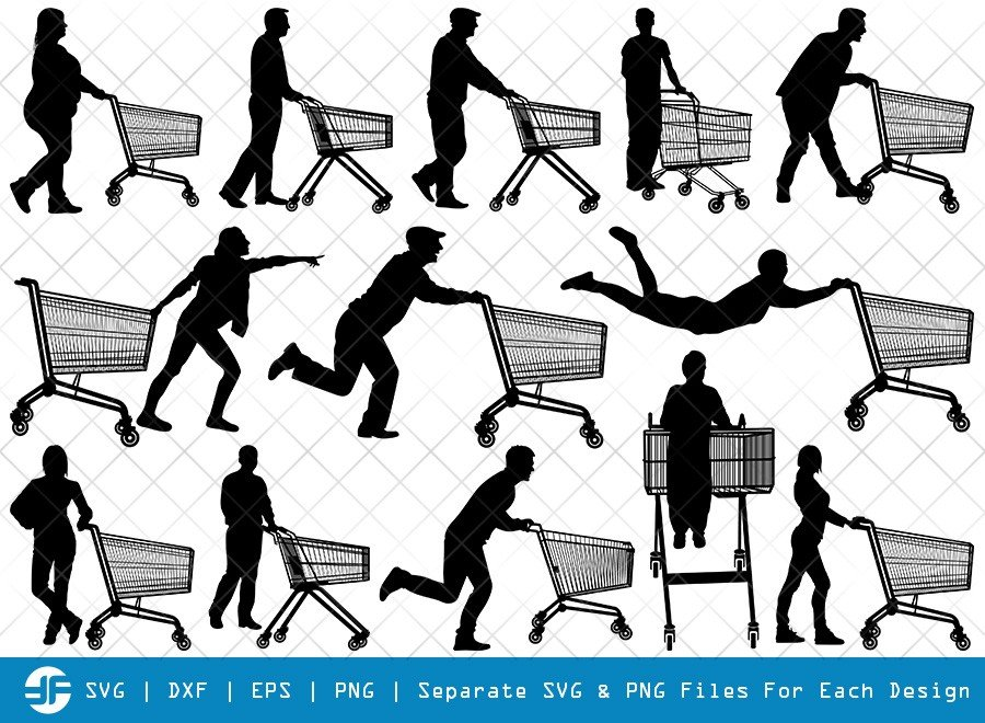 Man With Shopping Cart SVG Cut Files | Trolley Silhouette Bundle