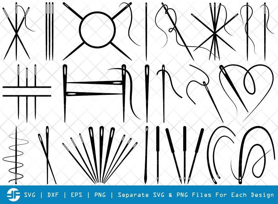 Sewing Needle SVG Cut Files   Needle Thread Silhouette