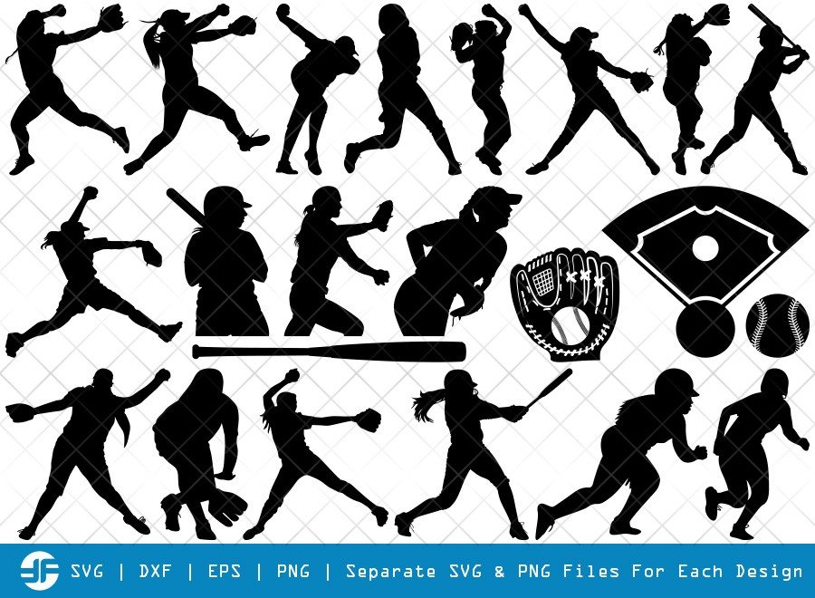 Softball SVG Cut Files | Softball Player Silhouette Bundle