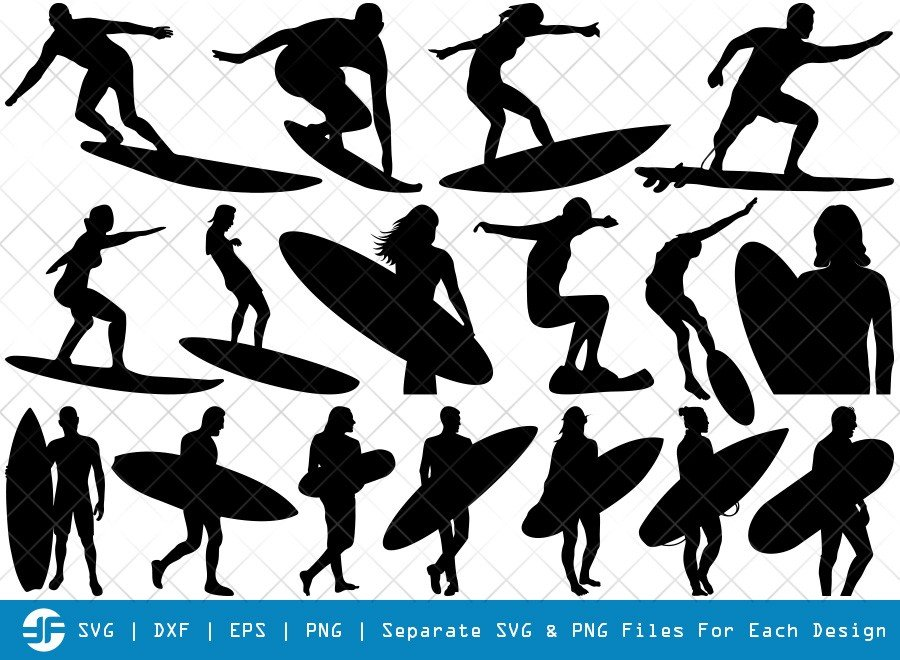 Surfing SVG Cut Files | Wakeboarding Silhouette Bundle
