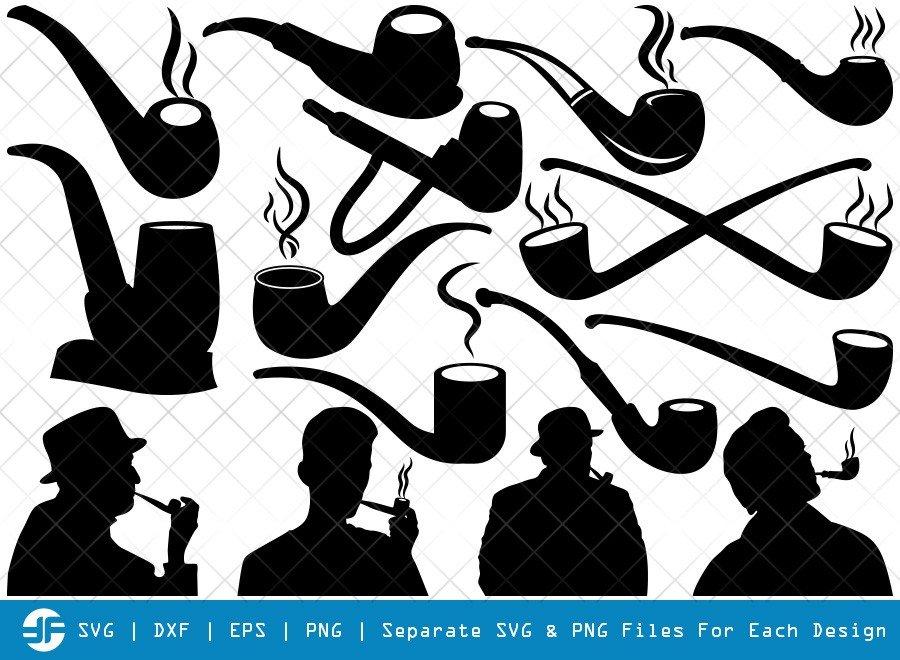 Tobacco Smoke Pipe SVG Cut Files | Man Smoking Silhouette