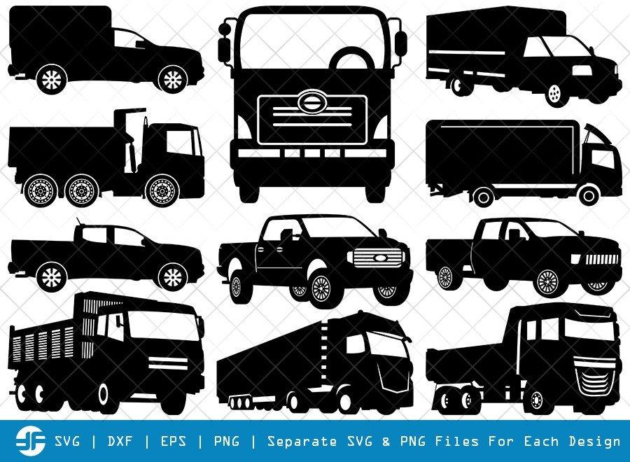 Pick Up Truck SVG Cut Files | Van Truck Silhouette Bundle
