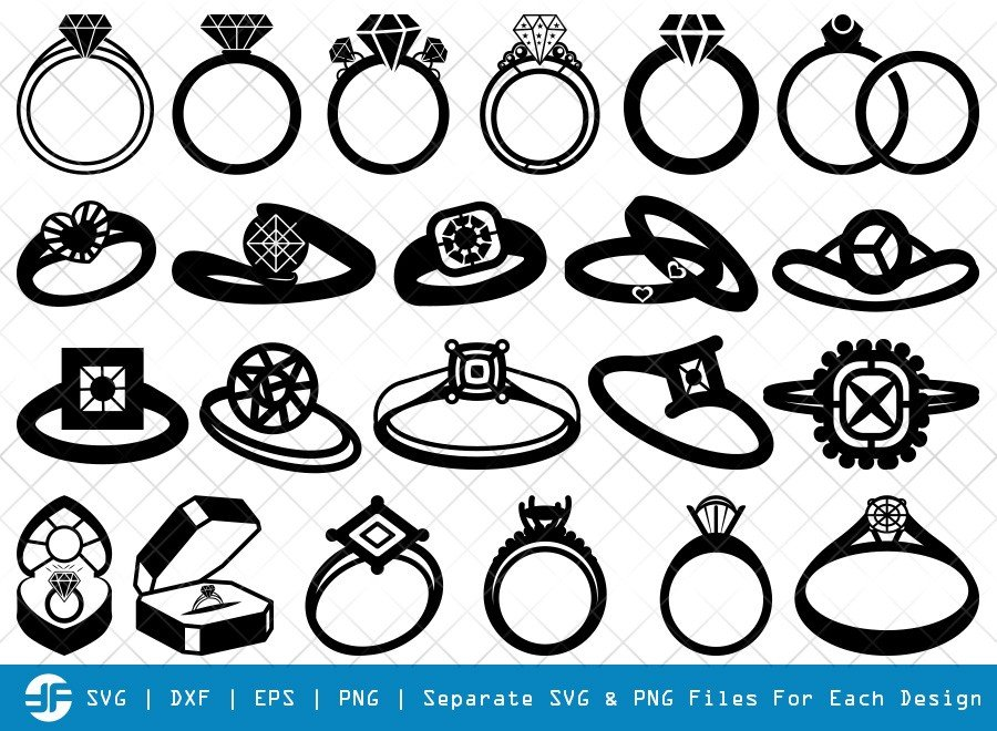 Wedding Ring SVG Cut Files | Diamond Ring Silhouette