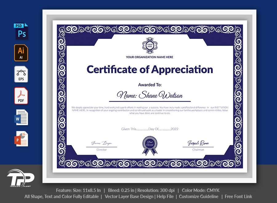 Printable Certificate of Appreciation Template | COA001