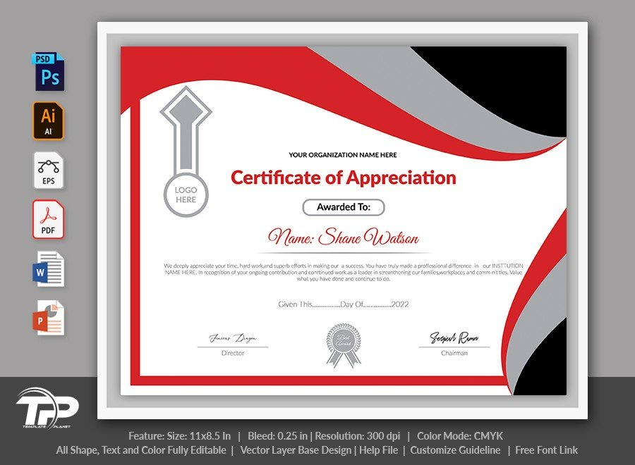 Printable Certificate of Appreciation Template | COA004