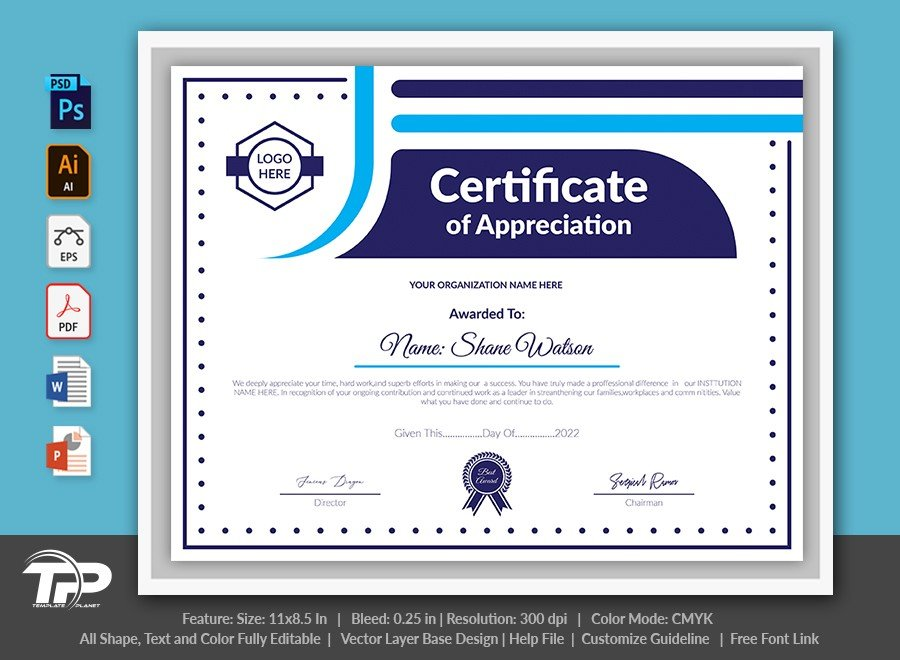 Printable Certificate of Appreciation Template | COA006