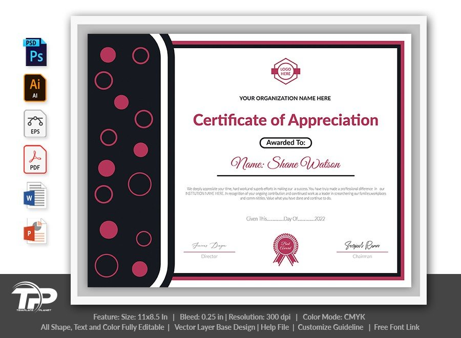 Printable Certificate of Appreciation Template | COA009