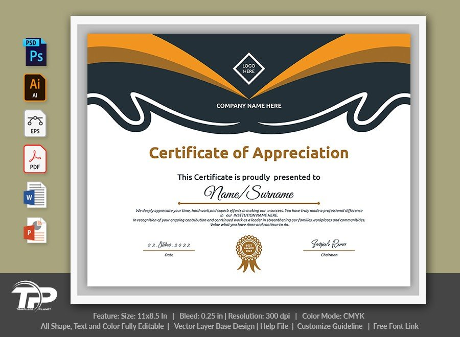 Printable Certificate of Appreciation Template | COA011