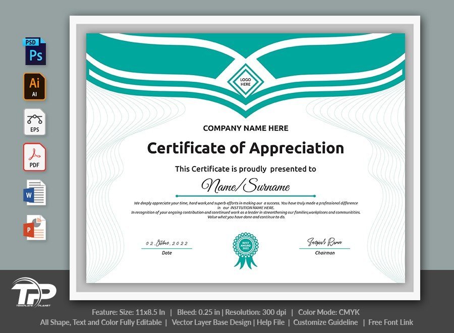 Printable Certificate of Appreciation Template | COA013